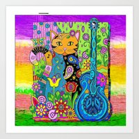 hippy Art Prints featuring Hippy Puss by SwanniePhotoArt