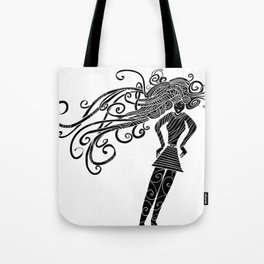 Long hair woman silhouette Tote Bag