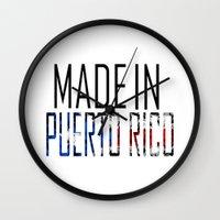 puerto rico Wall Clocks featuring Made In Puerto Rico by VirgoSpice