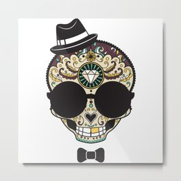 Blind Sugar Skull Metal Print