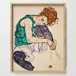 Egon Schiele - Sitting Woman with Legs Drawn Up Serving Tray