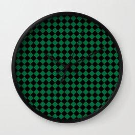 Black and Cadmium Green Diamonds Wall Clock