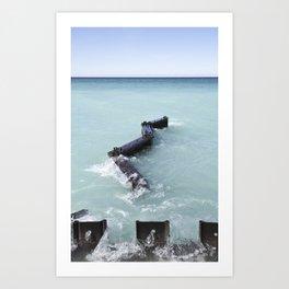 Lake Michigan Breakwall Art Print