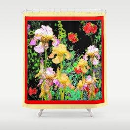 BRILLIANT  RED-BLACK YELLOW IRIS FLOWERS GARDEN Shower Curtain