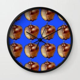 blue apple pattern Wall Clock