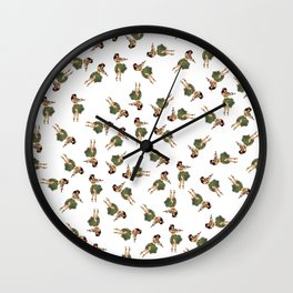 Dancing Hula Girls Pattern Wall Clock