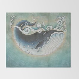 the Blue Whale Throw Blanket