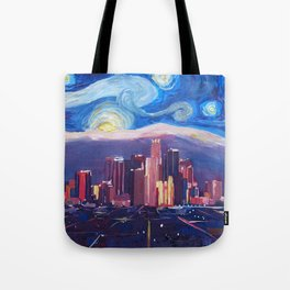 Starry Night in Los Angeles - Van Gogh Inspirations with Skyline and Mountains Tote Bag
