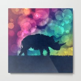 Pop Art Rhinoceros Metal Print