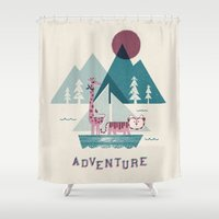 adventure Shower Curtains featuring Adventure by Jenny Tiffany