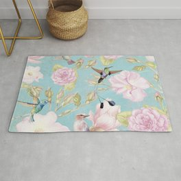 Pastel Teal Vintage Roses and Hummingbird Pattern Rug