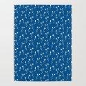 Doodle flowers on blue by katerinakirilova