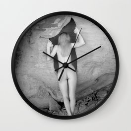 4094  Rear View B&W Nude Woman Naked Desert Feminine Classic Female Form Beautiful  Wall Clock