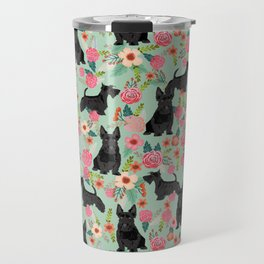 Scottish Terrier florals pattern dog breed dog art pet portraits pet friendly scottie gifts Travel Mug