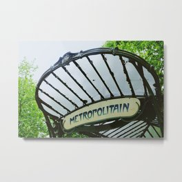 Metropolitain vintage Parisian sign near Montmartre Metal Print