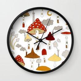mushroom homes Wall Clock