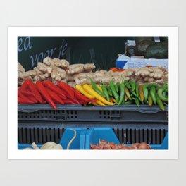 Colorful chili Art Print