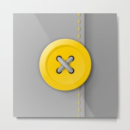 Yellow button X Metal Print