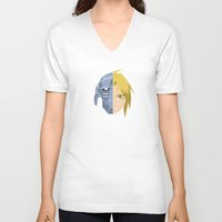 fullmetal V-neck T-shirts featuring Fullmetal Alchemist/RAM by 5eth