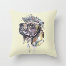 Beagle with a flower wreath - by Fanitsa Petrou Throw Pillow