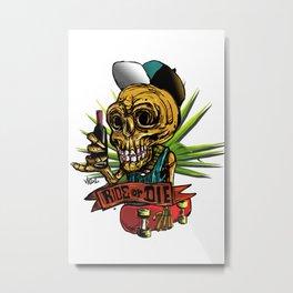 skull skate Metal Print