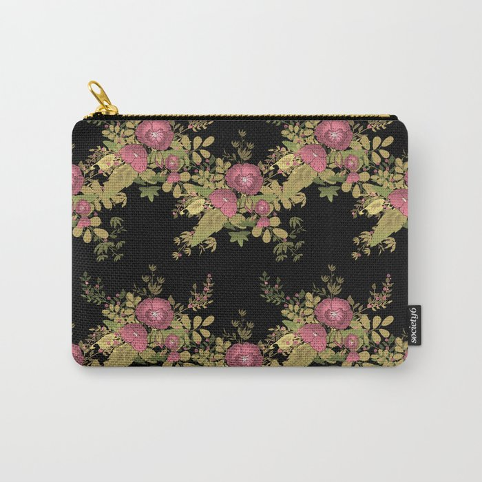 Colorful floral pattern on a black background . Carry-All Pouch