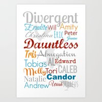 divergent Art Prints featuring Divergent Illustration by A Novel Gift