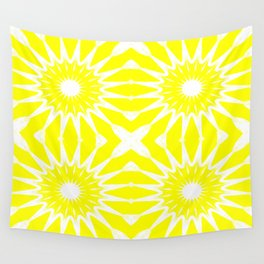 Yellow & White Pinwheel Flowers Wall Tapestry