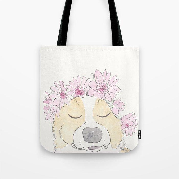 Adorable Corgi with Pink Flower Crown Tote Bag