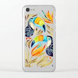 Tropical Toucans – Sepia Palette Clear iPhone Case