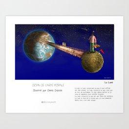 """""""La Lune"""" en Mots & Image illustré par Denis Dubois (French Touch) Art Print"""