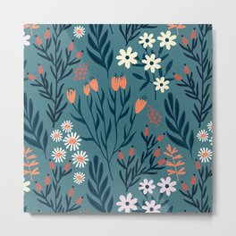Beautiful Springtime Garden Daisy And Tulip Pattern Metal Print