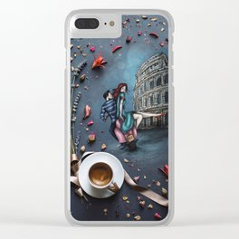 Little Coffee story in Rome Clear iPhone Case