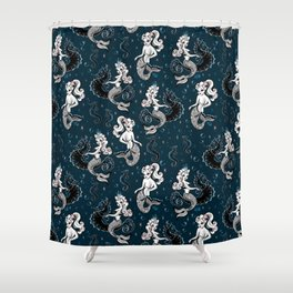 Pearla the Mermaid Riding on a Seahorse Shower Curtain