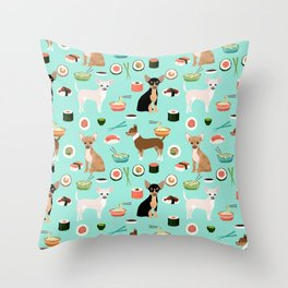 chihuahua sushi dog lover pet gifts cute pure breed chihuahuas multi coat colors Throw Pillow