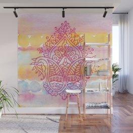 Watercolor & Indian Woodblock Design Wall Mural