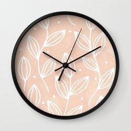 Watercolor Blush Leaves Wall Clock