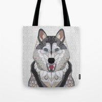 husky Tote Bags featuring Happy Husky by ArtLovePassion