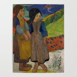"Paul Gauguin ""Two Breton Girls by the Sea"" Poster"
