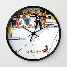 Mother Duck and Ducklings Retro Vintage Poster Wall Clock