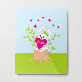 cute bunny with love on the stump Metal Print