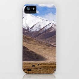 Tibet landscape with yaks iPhone Case
