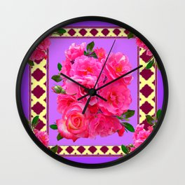 PANTENE ULTRA VIOLET PURPLE  PINK GARDEN ROSES Wall Clock