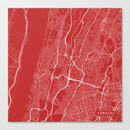 Yonkers Map, USA - Red Canvas Print