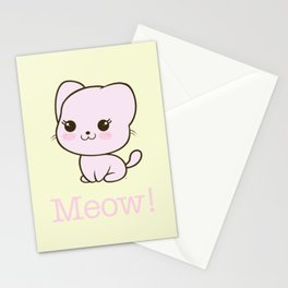 Pastel Kitten Kawaii Stationery Cards