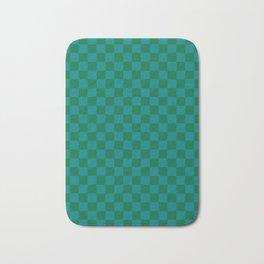 Teal Green and Cadmium Green Checkerboard Bath Mat