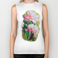 peonies Biker Tanks featuring Peonies by OLHADARCHUK