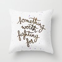 snape Throw Pillows featuring Something worth fighting for by Earthlightened