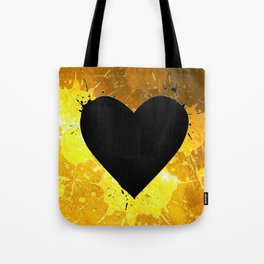 Yellow Watercolor splashed heart texture Tote Bag
