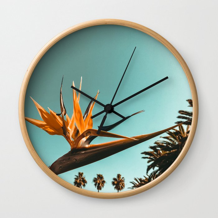 Birds of Paradise Print {1 of 3} | Palm Trees Ocean Summer Beach Teal Photography Art Wall Clock